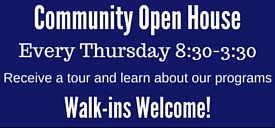 Community Open House, Every Thursday 8:30am-3:30pm, Call 904-777-3040